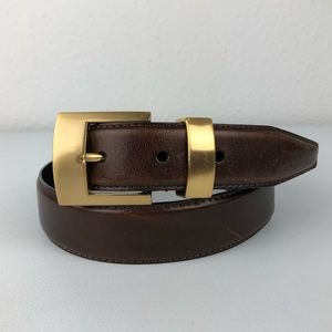 FOSSIL Brown Leather Belt Gold Buckle Size Medium